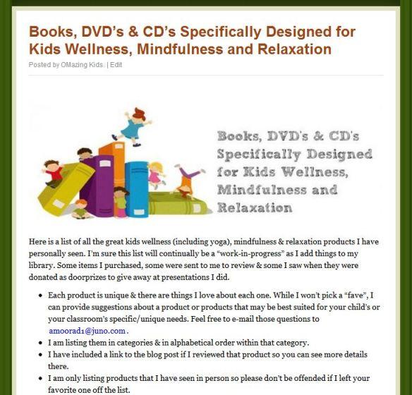 Books, DVD's & CD's Specifically Designed for Kids Wellness