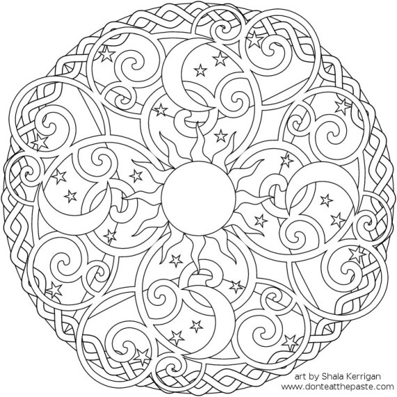 "sun, moon & stars mandala coloring page from the ""Don't Eat The Paste ..."