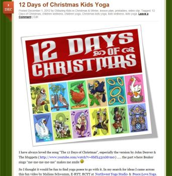12 days of Christmas Kids Yoga Blog Post