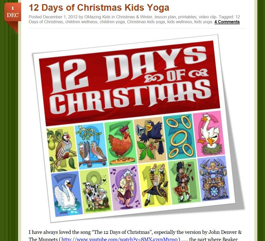 12 days of kids yoga