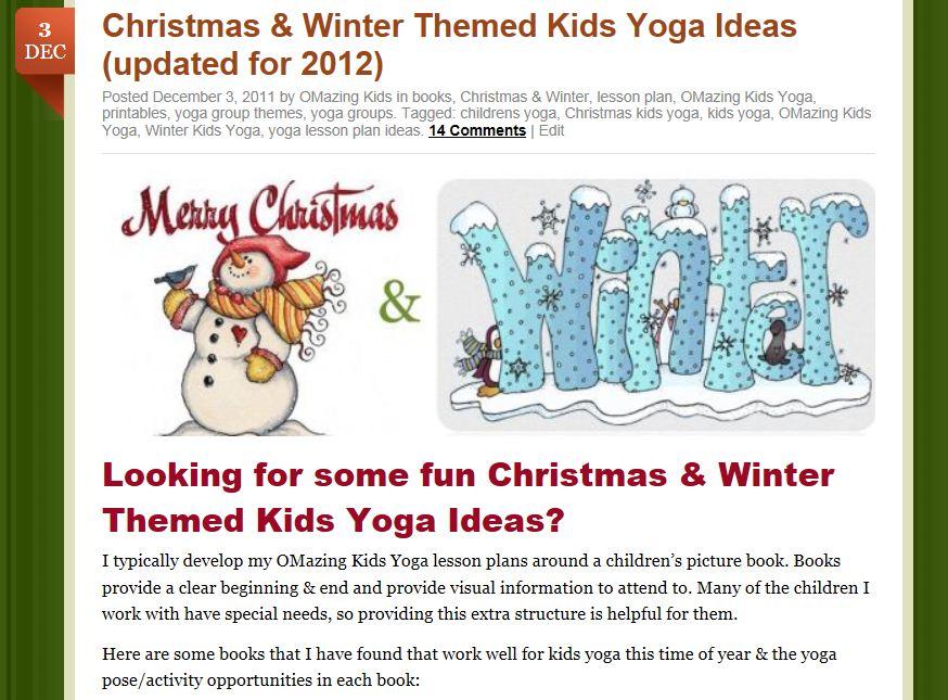 Christmas & Winter Kids Yoga post