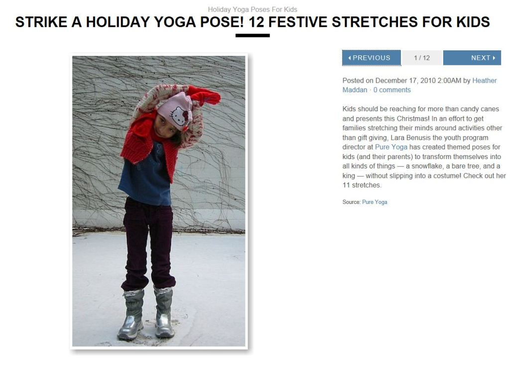 holiday yoga poses for kids - click pic to go to this post