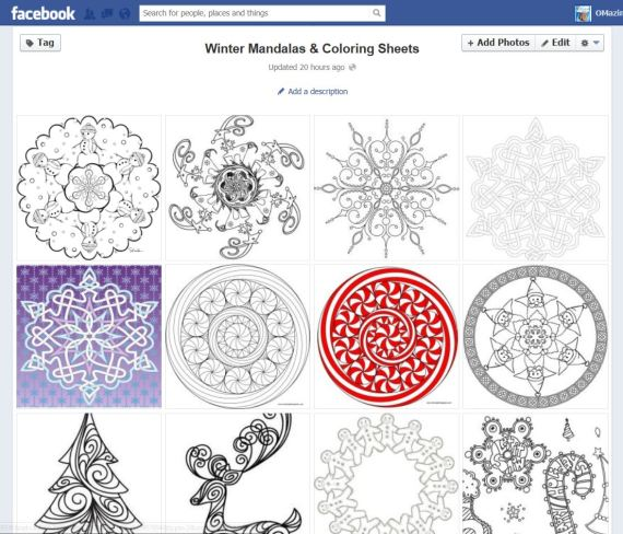 winter mandalas & coloring sheets album - click pic to go to album on FB