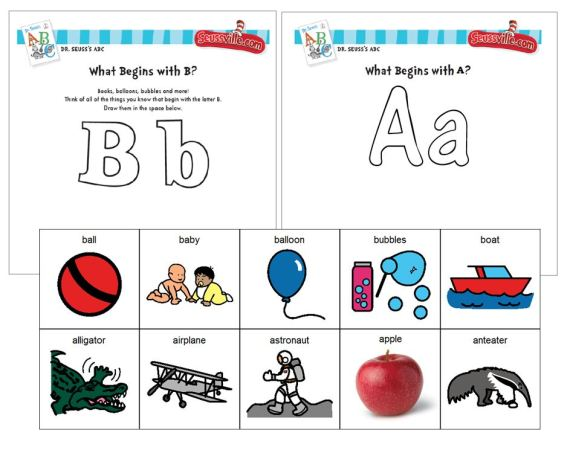 Dr. Seuss initial sound phonemic awareness - B & A (sort, color & paste activity with Boardmaker symbols) - click pic to open PDF