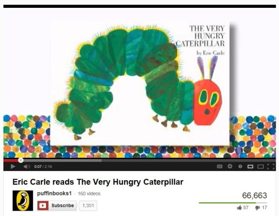 Eric Carle reads The Very Hungry Caterpillar (click pic to go to Youtube video)