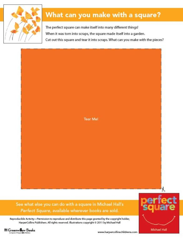Perfect Square - free printable activity from the publisher (click to open PDF)