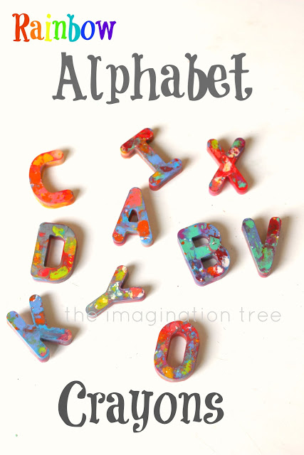 rainbow alphabet crayons