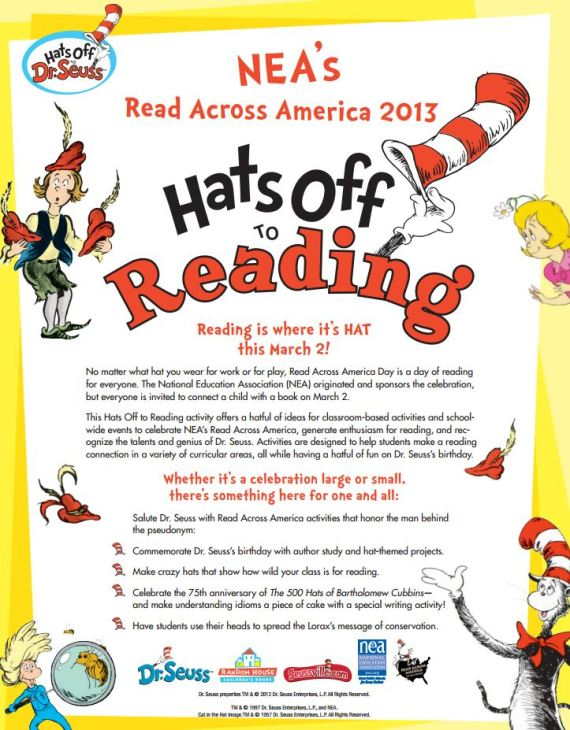 Read Across America 2013 printable guide - click pic to open PDF