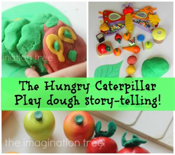 Very Hungry Caterpillar - Playdoh storytelling ideas from The Imagination Tree (click pic to go that blog)