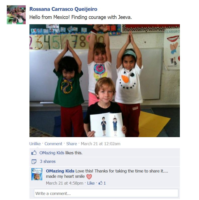 Rossana's yogis with the Jeeva book FB post