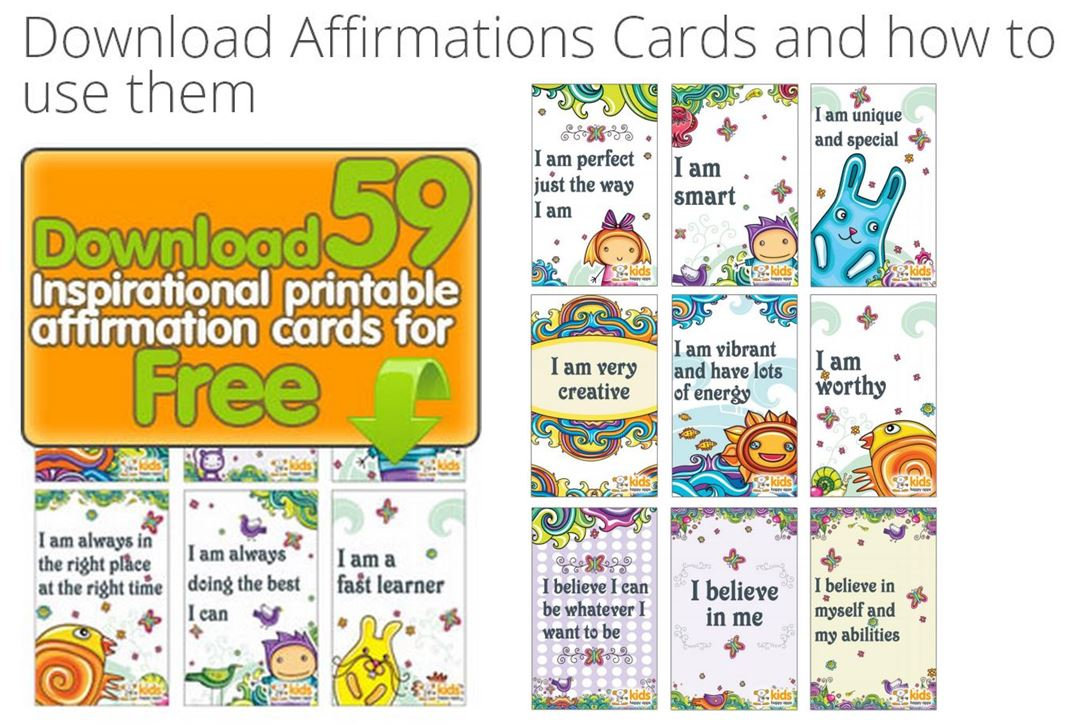 graphic regarding Affirmation Cards Printable known as Cost-free Printable Confirmation Playing cards for Little ones towards Small children Pleased