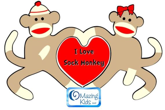 i love sock monkey  omazing kids, coloring pages