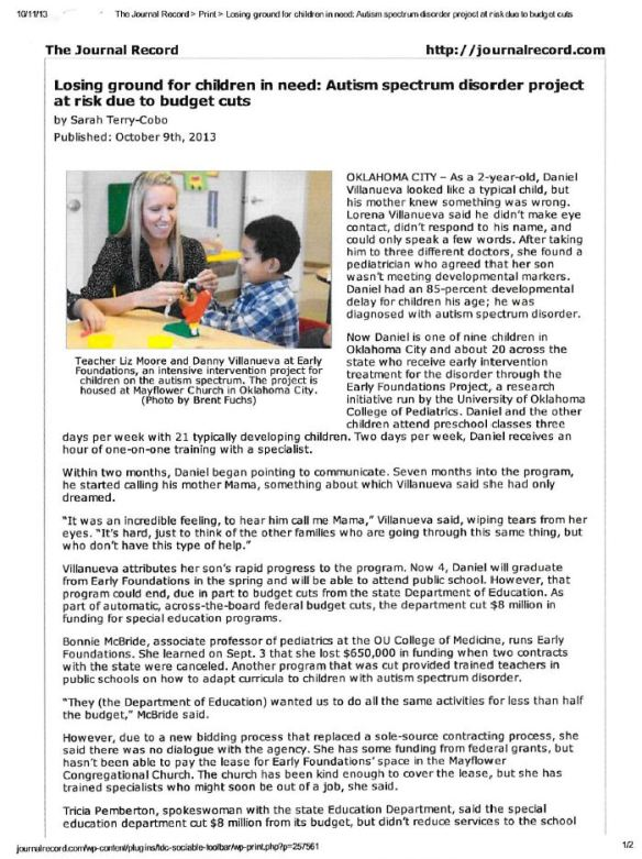 Losing ground for children in need - Autism spectrum disorder project at risk due to budget cuts (page 1)