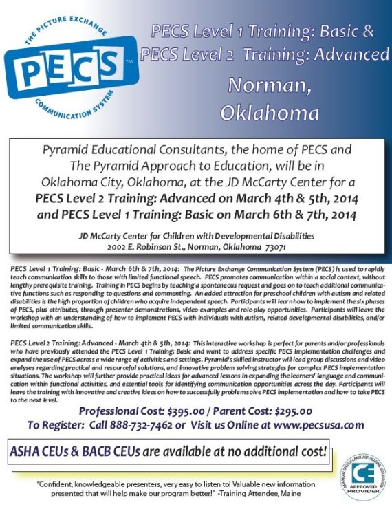 flyer for PECS workshop at JDMC March 2014