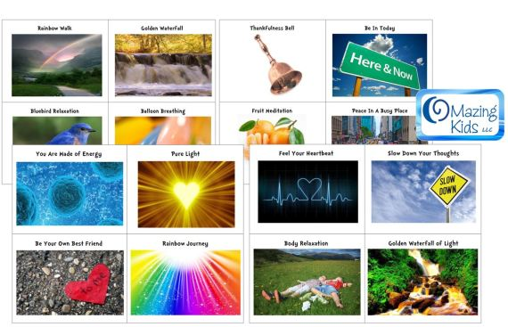 Printable Picture Cards to go with RCY Kids Guided Relaxation Albums - made by OMazing Kids as a free printable to go with this review and giveaway (click pic to open 6 page PDF)