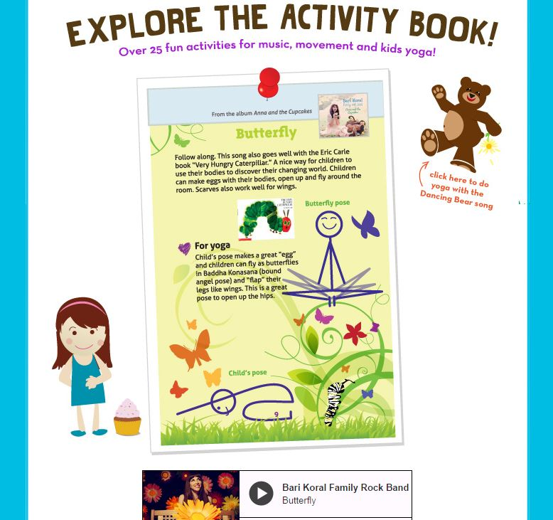 Activity book preview with songs