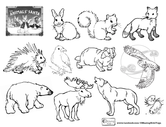 The Animals' Santa - click pic to open 1-page free coloring page to go with the OMazing Kids Lesson Plan