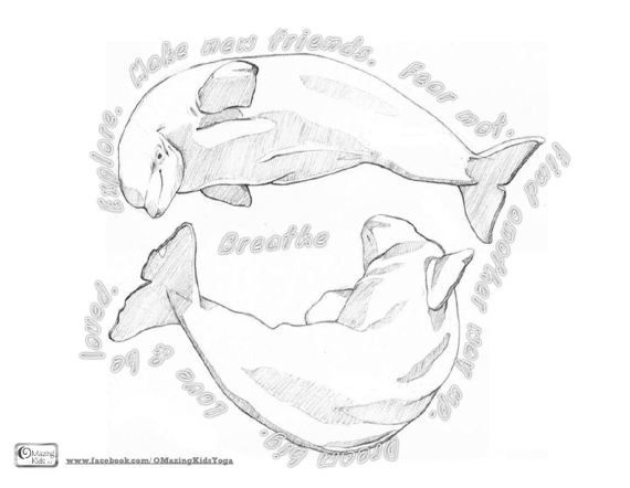 beluga whales and mantras coloring page for Breathe by Scott Magoon
