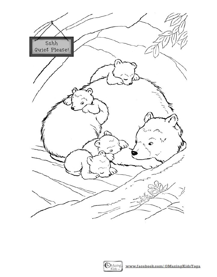 sleeping bear coloring page OMazing Kids