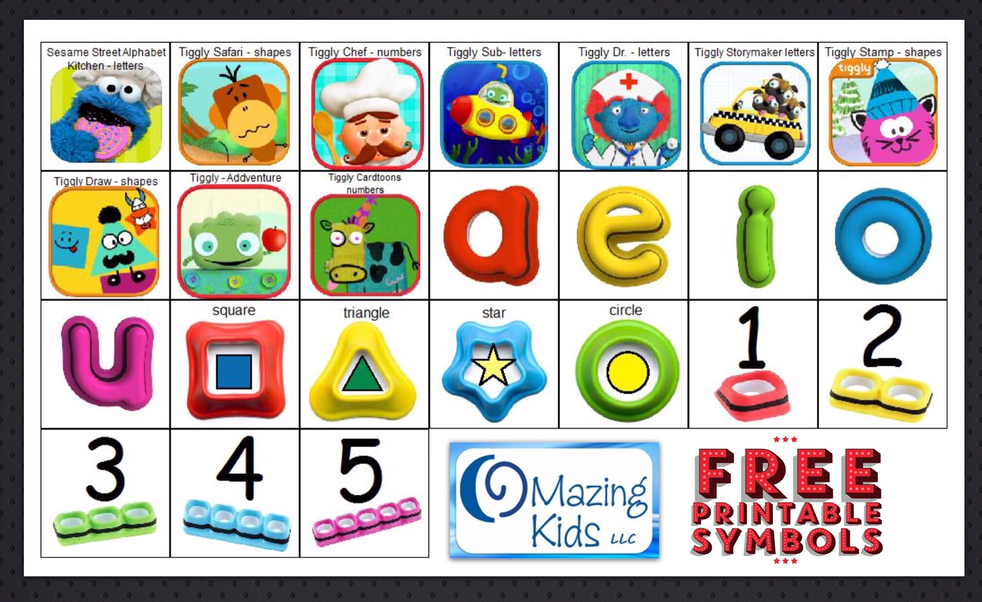 Free Printable Symbols For Tiggly Apps Styluses Omazing Kids