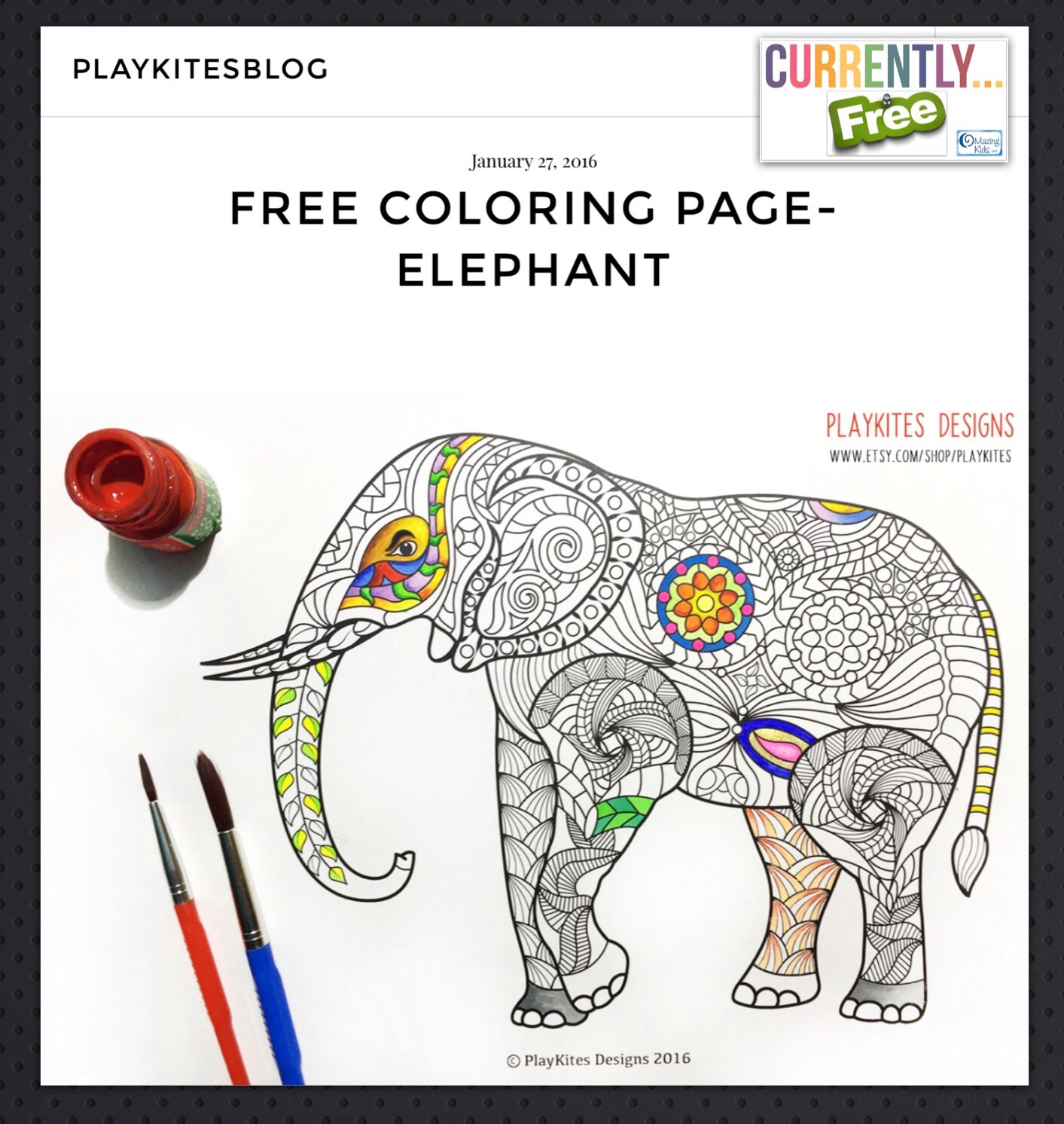 Currently FREE} Detailed printable elephant coloring page from ...