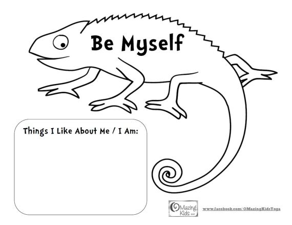 mixed up chameleon and a color of his own be myself free printable from - Chameleon Coloring Pages Print