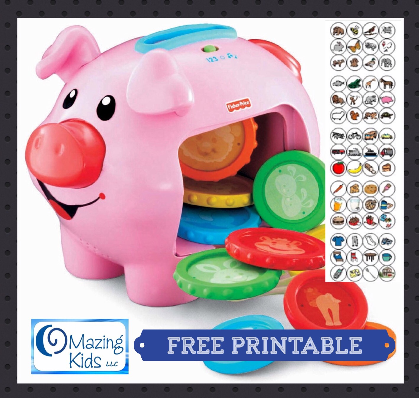 Free Printable 60 Early Vocabulary Cards For The Fisher Price Laugh Learn Piggy Bank Omazing Kids Aac Consulting