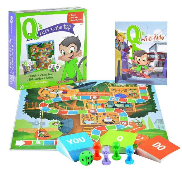 Q's game board with book set
