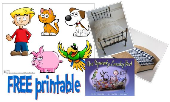The Squeaky, Creaky Bed - free printable story props from OMazing Kids