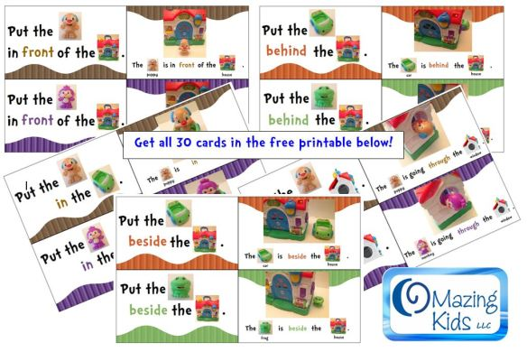 free printable preposition and spatial concept cards - OMazing Kids