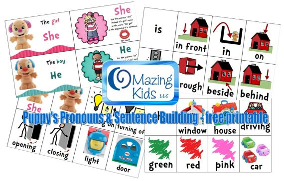 Puppy's Pronouns and Sentence Building - Free Printable - made by Angela Moorad, MS, CCC-SLP at OMazing Kids