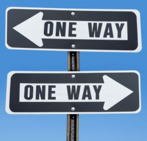 conflicting one way signs